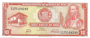 PERU 10 Soles de Oro 🌎💴🛶 P- 93, UNC; 1968; Over 50 Years Old 🛶 BOATS in Bay - Busy Bee Emporium