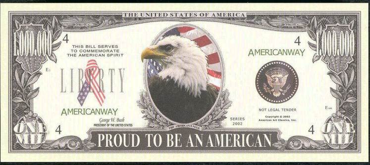 PROUD TO BE AN AMERICAN 💶 🦅 MILLION Fantasy Note 🦅 - Busy Bee Emporium