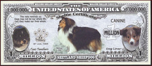 SHETLAND SHEEPDOG 🐩🐩 Certificate Million 🐕🐶💶 Fantasy Note 🐶💶 - Busy Bee Emporium