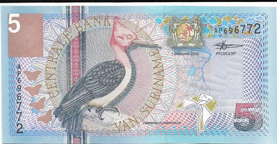 SURINAME 5 Gulden 🌎💷 P- 146, UNC; 2000 💷🌎🦇 Bat 🦇🐦 WOODPECKER 🐦