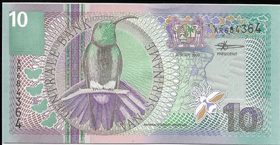 SURINAME 10 Gulden 🌎💷 P- 147, UNC; 2000 🌎🐦 Black Throated Mango 🐦
