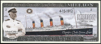 COMMEMORATIVE RMS TITANIC 🚢 Million Dollar Fantasy Bank Note 💵 Edward John Smith 🚢 - Busy Bee Emporium