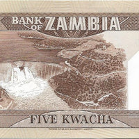 ZAMBIA 5 Kwacha 🌎🦅 P- 25d, UNC; 1980 - 88 🌎🦅 African Fish Eagle 🦅 Hydro Dam - Busy Bee Emporium
