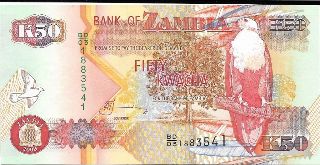 ZAMBIA 50 Kwacha 🌎🦅 P- 37d, UNC; 2003 🦅 African Fish Eagle 🦅🦓 ZEBRA 🦓 - Busy Bee Emporium