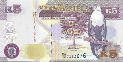 ZAMBIA 5 Kwacha 🌎🦅 P- 50a, UNC; 2012 🦅 Fish Eagle 🦁🦁 LION HEAD 🦁🦁 - Busy Bee Emporium