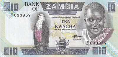 ZAMBIA 10 Kwacha 🌎🦅 P- 26e, UNC; 1986-88 🦅 African Fish Eagle; Bank - Busy Bee Emporium