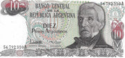 Argentina 10 Peso Argentino 🌎💷 P-313; SIGNATURE VARIETY 1; 1983-84; UNC 🌎 Waterfall - Busy Bee Emporium