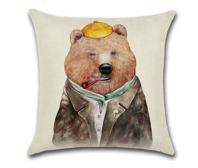 🐻 BEAR WITH PIPE PILLOW COVER, Package:1 PCS Cushion Cover - Busy Bee Emporium