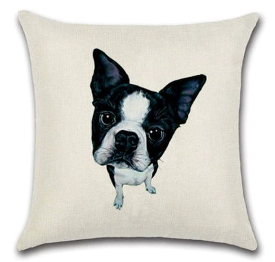 🐶BOSTON TERRIER PILLOW COVER, Package:1 PCS Cushion Cover