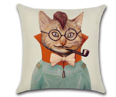 😻 PIPE SMOKING CAT PILLOW COVER, Package:1 PCS Cushion Cover