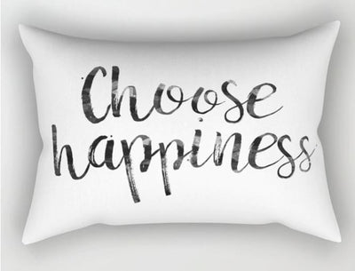☺  CHOOSE HAPPINESS PILLOW CASE - TRAVEL PILLOW COVER 50*30cm - Busy Bee Emporium