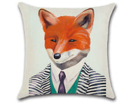 🦊  FOX WITH TIE PILLOW COVER, Package:1 PCS Cushion Cover 🦊 - Busy Bee Emporium