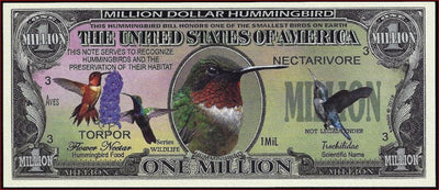 HUMMINGBIRD 🐦 Fantasy Note 💶🐦 One Million 🐦 HUMMINGBIRDS 🐦💶 Wildlife Series - Busy Bee Emporium