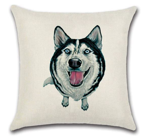 🐶HUSKY PILLOW COVER, Package:1 PCS Cushion Cover - Busy Bee Emporium