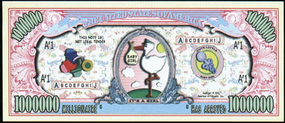 IT'S A GIRL 👧👶 Million Dollar Fantasy Bank Note 💵 Baby Girl👧👶 - Busy Bee Emporium