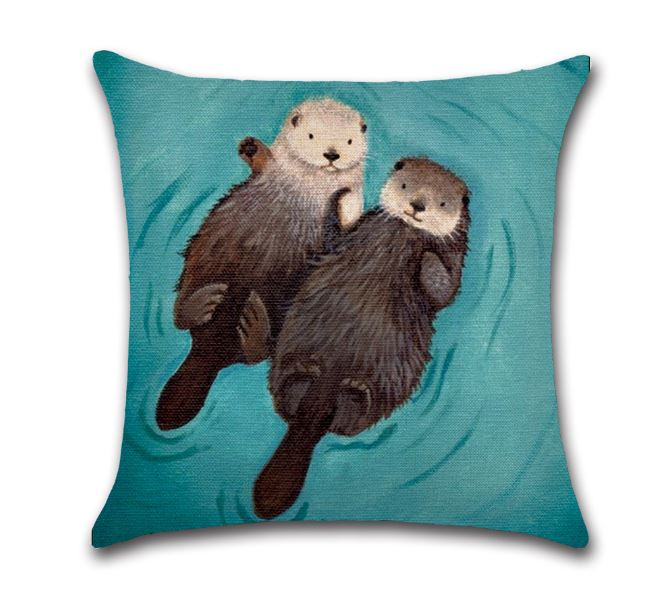 🦦 OTTERS PILLOW COVER, Package:1 PCS Cushion Cover🦦 - Busy Bee Emporium