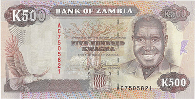 ZAMBIA 500 Kwacha 🌎🦅 P- 35a, UNC; 1991 🦅 African Fish Eagle 🐘 Elephant - Busy Bee Emporium
