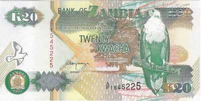 ZAMBIA 20 Kwacha 🌎🦅 P- 36b, UNC; 1992; New Design 🦅 Fish Eagle 🐪 Kudu - Busy Bee Emporium