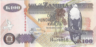 ZAMBIA 100 Kwacha 🌎🦅 P- 38e, UNC; 2005 🦅 Fish Eagle 🐃 WATER BUFFALO - Busy Bee Emporium