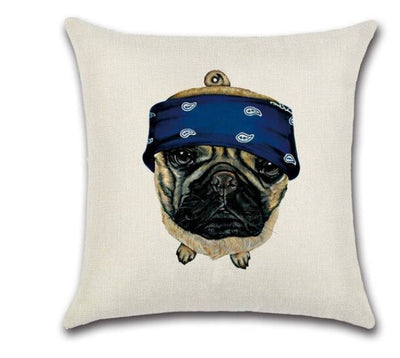 🐶PUG WITH BANDANNA PILLOW COVER, Package:1 PCS Cushion Cover