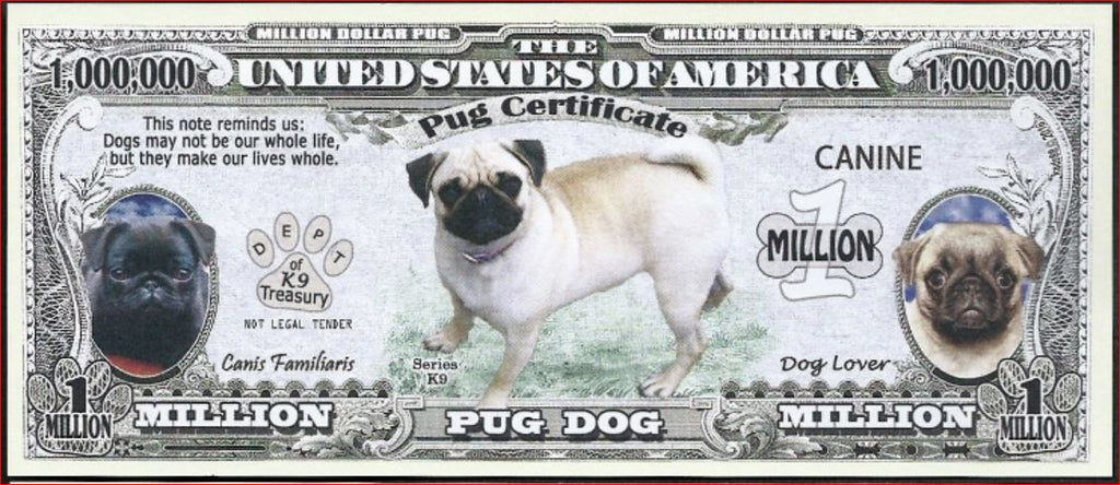 PUG 🐕 Certificate Million 🐕🐶💶 Fantasy Note 🐶💶 - Busy Bee Emporium