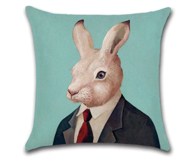 🐰  RABBIT WITH TIE PILLOW COVER, Package:1 PCS Cushion Cover🐰 - Busy Bee Emporium