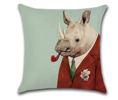 🦏RHINO WITH PIPE PILLOW COVER, Package:1 PCS Cushion Cover🦏