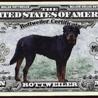 ROTTWEILER Certificate Million 🐶💶 Fantasy Note 🐶💶 - Busy Bee Emporium
