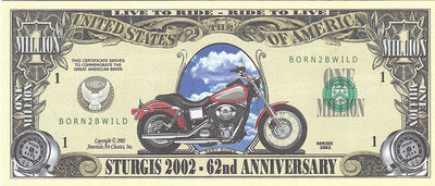 STURGIS 2002- 62nd ANNIVERSARY 💶🏍 One Million Fantasy Money 🏍💴 Born 2B Wild - Busy Bee Emporium