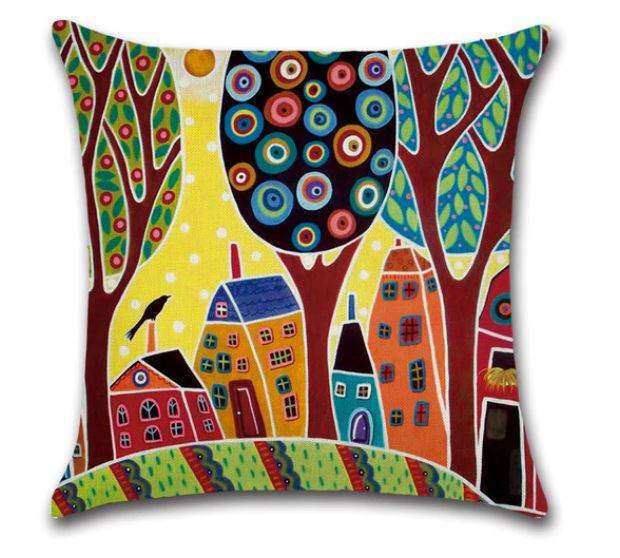 🏠 HOME & TREES PILLOW COVER - Package:1 PCS Cushion Cover 🏠