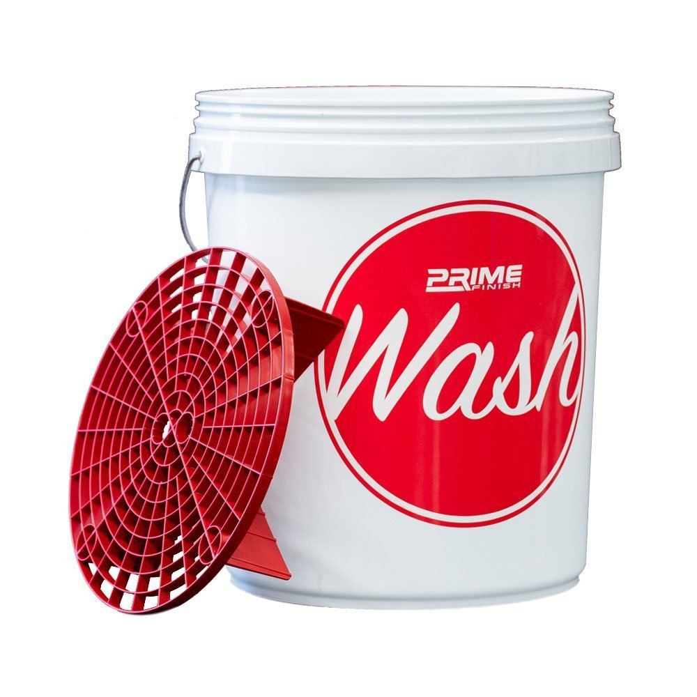 Wash Bucket with Lid and Red Grit Guard Insert 20L - Prime Finish Car Care