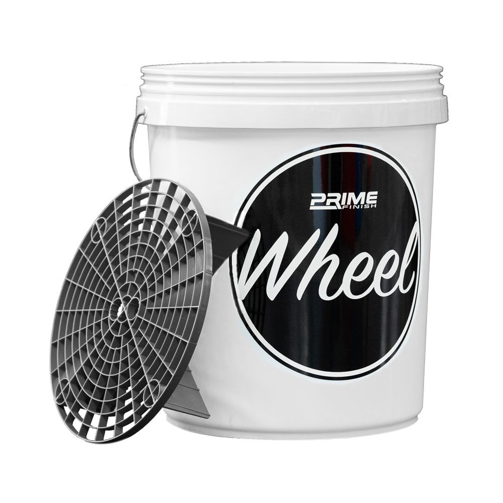 Wheel Bucket with Lid and Black Grit Guard Insert 20L - Prime Finish Car Care