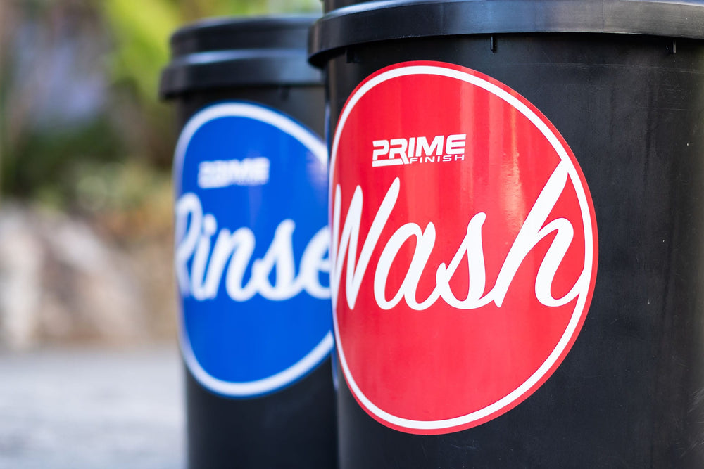 Bucket Water Proof Vinyl Sticker Set - Wash, Rinse, Wheel - Prime Finish Car Care