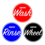 Bucket Water Proof Vinyl Sticker Set - Wash, Rinse, Wheel