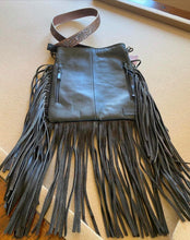 Load image into Gallery viewer, All Leather Silver and White Acid Washed Handbag with Fringe