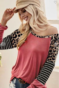 Marsala Colored Top with Leopard and Stripe Sleeves