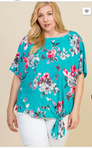 Summer time Vibes Curvy Floral Dolman Sleeve Tunic
