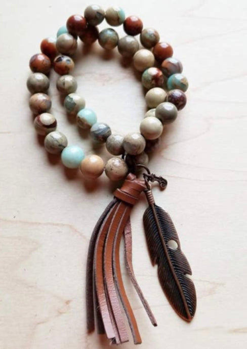 Aqua Terra double strand Bracelet w/ tassel and Feather