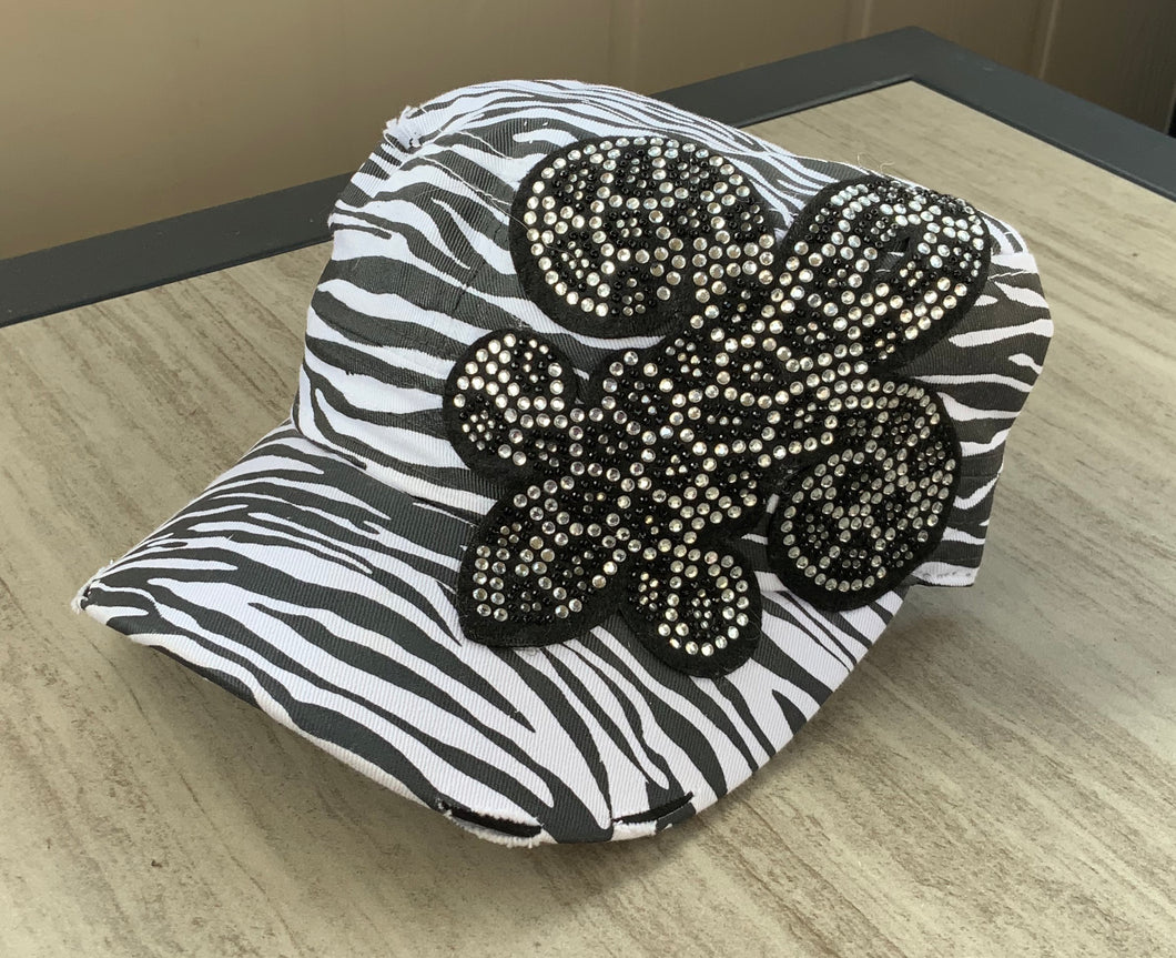 Zebra Distressed Cadet cap with Bling Fleur de
