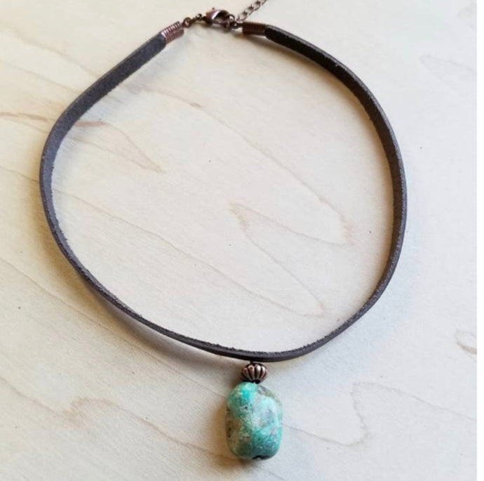 Leather choker necklace with African turquoise accent
