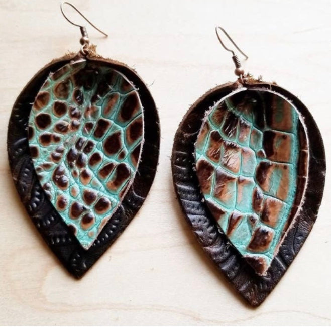 Leather double stacked earrings- Brown and Turquoise Gator