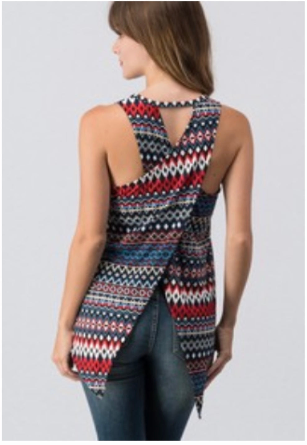 Multi Colored top with Criss Cross back