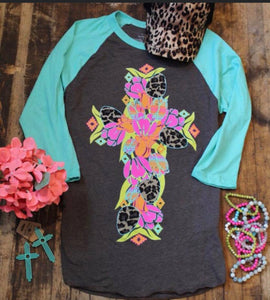 Cute Shirt with Baseball sleeves and Leopard Cross accents