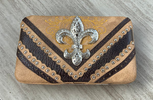 Clutch Wallet with Fleur de Accent and Silver studs