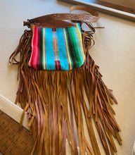 Load image into Gallery viewer, Brown Leather Handbag with Serape and Fringe