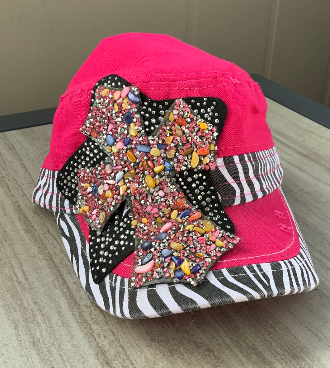 Pink and Zebra Cadet Cap with Bling Cross