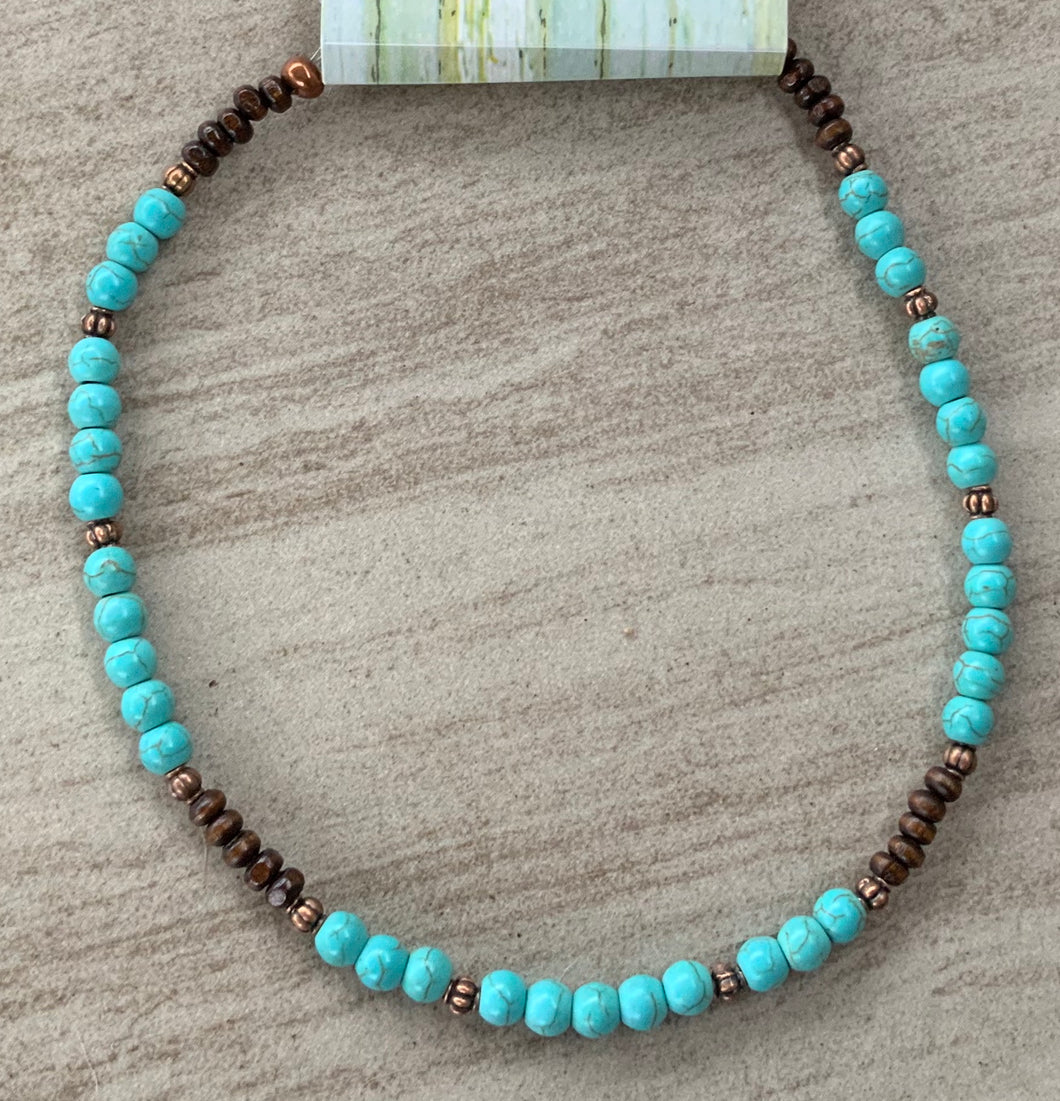 Blue Turquoise Choker necklace with wood and copper beads