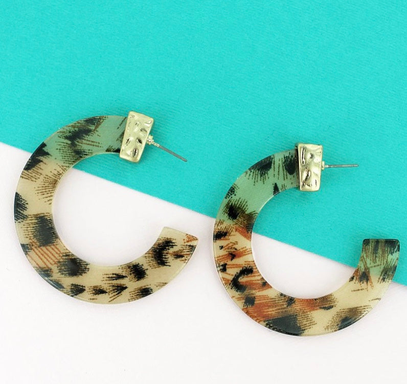 Gold-tone Leopard Flat C Hoop Earrings