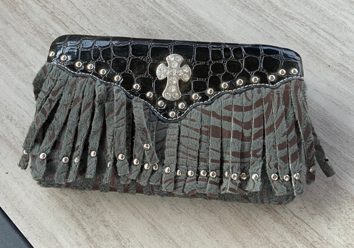 Clutch Wallet with Fringe and Cross Accent