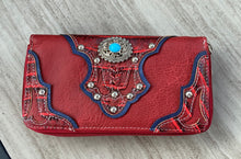 Load image into Gallery viewer, Red leatherette Wallet with Turquoise Conchos and Studs